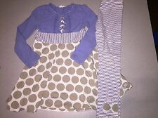 NAARTJIE WHIMSICAL SPARKLE POLKA DOT STRIPED DRESS & BOW LEGGINGS SET SIZE 7