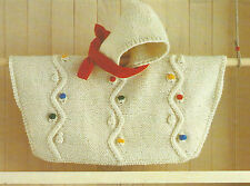 Baby Knitting Pattern Hooded Poncho Chunky knit 0-18months 494