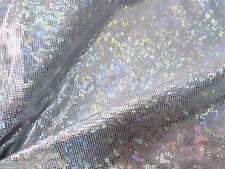White Shattered Glass Holographic print Spandex fabric sold by the Yard