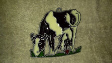 Stained Glass Sun Catchers Mother Cow and Baby Eating__C3