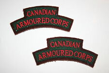 WW2 TYPE CANADIAN CANADA ARMOURED CORPS CLOTH SHOULDER TITLE'S PAIR