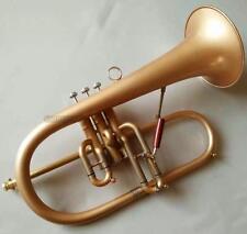 Professional Matt Gold Flugelhorn Monel Valve Bb Horn Gold Brass Body With Case