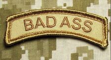 BAD ASS TAB US ARMY USA MILITARY ISAF OAF DESERT HOOK & LOOP MORALE PATCH