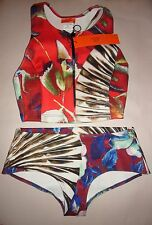 CLOVER CANYON Floral Wallpaper Zip-Front & Hipster Bottoms 2 Pc Bikini Sz XS Red