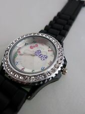 BRAND NEW COVERED WITH CRYSTALS HELLO KITTY BLACK SILICONE WATCH