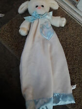 Dakin LAMB Sheep Security Blanket Lovey pink Nose BLUE SILKY TRIM Vintage Rare