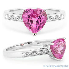 1.88 ct Heart-Shape Pink Corundum Round Diamond Right Hand Ring - 14k White Gold