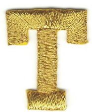 "1"" Tall Bright Metallic Gold Monogram Block Letter T Embroidery Patch"