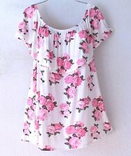 NEW~Romantic Pink Ivory Rose Ruffle Peasant Blouse Shirt Plus Boho Top~24/26/3X