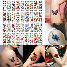 36 Sheets Temporary 3D Flower Butterfly Lip Tattoo Colorful Fake Tattoos Sticker