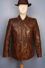 Stunning Vtg 40s HALF BELT Leather Motorcycle Sports Jacket Small