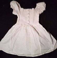 BABY GIRLS WHITE 100% COTTON SUMMER DRESS PINK SPOTTED DESIGN 3 - 4 YEARS BNWOT