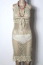 KOTON Kleid Gr. 34-36 beige knielang Empire Neckholder Häkel Kleid