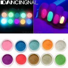 10 Color Glow In The Dark Fluorescent Neon Luminous Nail Art Glitter Tips Powder