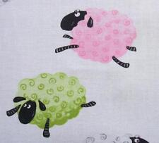 Susybee Lewe Pink Green Leaping Sheep White Childrens Cotton Fabric Yard