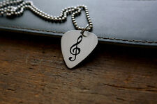 Hand Made Etched Guitar Pick Necklace Treble Clef
