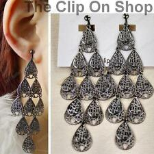 CLIP ON long CHANDELIER drop EARRINGS filigree GUNMETAL BLACK antique style