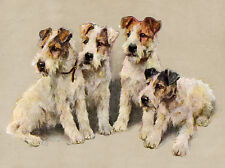 WIRE FOX TERRIER CHARMING DOG GREETINGS NOTE CARD LOVELY GROUP OF FOUR DOGS