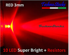 10 LED Rosso 3mm Ultraluminosi + Resistenze  - LED RED 3 mm Super Bright