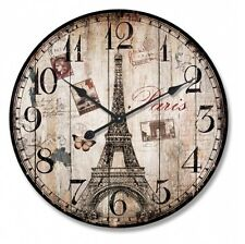 New 28.8CM MDF Round Wall Clock Paris Eiffel Tower Wall Clock  Home Decor Gift
