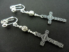 A PAIR OF TIBETAN SILVER CROSS CRUCIFIX  CLIP ON EARRINGS. NEW.