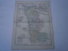Carte 19° 1852  couleur atlas Malte brun Département de la Manche Plan de St Lo