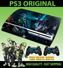 PLAYSTATION PS3 ORIGINAL STICKER CYBER PUNK DARK SKIN & 2 X CONTROLLER PAD SKINS