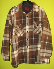 Vtg KINGS ROAD Sears Men Store Wool Brown Plaid Flannel Work Shirt Jacket XL 17