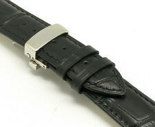 19mm Black Genuine Leather Watch Band Alligator Butterfly Clasp Fits All 19