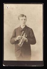 1880s Cabinet Card Portrait Young Man Coronet or Trumpet Ranger & Co Syracuse NY