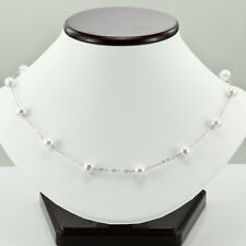 14K WHITE GOLD & WHITE FRESH WATER CULTURED ROUND PEARL NECKLACE 16""