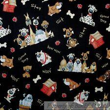 BonEful Fabric FQ Cotton Quilt Black Brown Dog Breed Comic Cartoon Bone House US