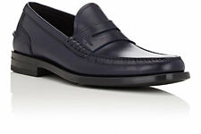 NIB Salvatore Ferragamo Mens Gallery Navy Blue Leather Penny Loafers 12 45