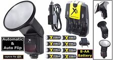 Auto Flash With Flip Diffusor+8AA Battery For Canon Rebel T3 T3i SL1 450D 1000D