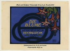 DIE BLUME Ausstellung Berlin Zoo Hallen * Plakat-Entwurf AG von Loew um 1920