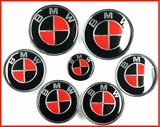 NEW BMW 7pcs BMW RED BLACK CARBON Emblems Full Set Wheel cover hood trunk e90