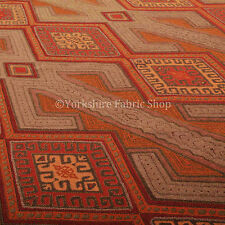10 mètres de marron orange rouge kilim aztèque géométrique designer upholstery fabric
