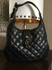 BURBERRY BROOK QUILTED BLACK LEATHER BLACK LEATHER HOBO HAND BAG