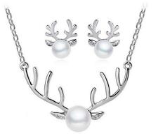 Gorgeous Antlers Christmas Necklace Novelty Reindeer Pearl Jewelry Party Gifts