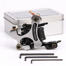 Alloy Coil Tattoo Machine Gun 10 Wrap Copper Coils With Iron Box Liner Silver