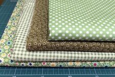 "4 pcs 12"" x 8"" 100% COTTON PATCHWORK FABRIC Green Flower Floral g2"