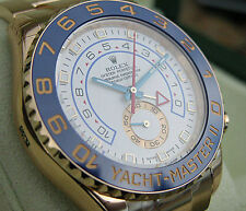 Rolex YACHT-MASTER II 116688 Mens Yellow Gold Oyster White Dial Blue Hands 44MM