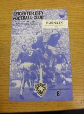 16/10/1965 Leicester City v Burnley  (Small Piece Missing Inside).  We are pleas