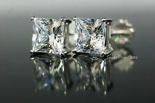 3.5 Ct Princess Cut Stud Earrings 14k Real White Gold With Screw Back
