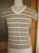 Ladies TOMMY HILFIGER sailing brown stripe cap-sleeve smart top S 8/10 BNWOT