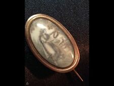 GEORGIAN MOURNING JEWELRY Pin:  14K Gold, Birds & Tombstone, c1700's, Inscribed