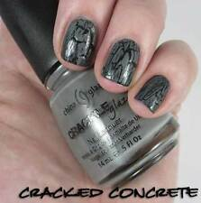 NEW! China Glaze nail polish lacquer in CRACKED CONCRETE ~ GRAY CRACKLE TOP