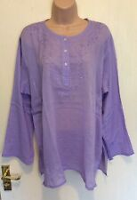 NEW LILAC EMBROIDERY COTTON LONG SLEEVE ETHNIC BOHO BLOUSE TUNIC TOP SIZE 8/16