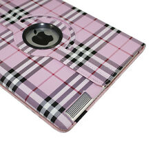 360 Degree Rotating PU Leather Pink White/Black Plaid + Stylus for iPad 2 3 4