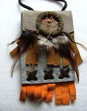 Brustbeutel grau 229 Halskette Dreamcatcher schwarz Leder Traumfänger necklace